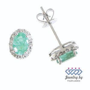 Halo Diamond Emerald Cute Stud Earrings White Gold